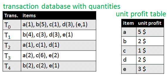 transaction database with quantities
