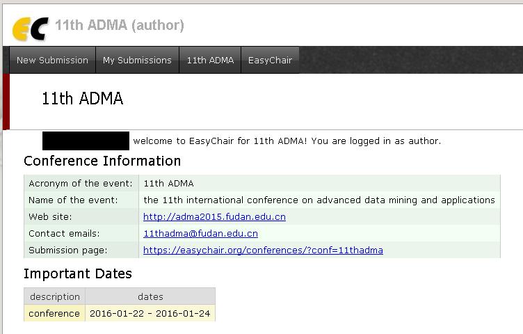 ADMA2015 easychair