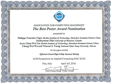 Nomination for the best poster award for the EFIM-Closed algorithm at SAC 2016