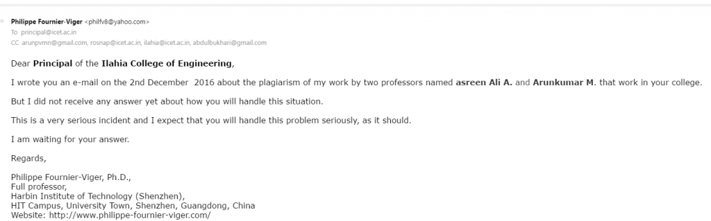 Plagiarism at the Ilahia College of Engineering