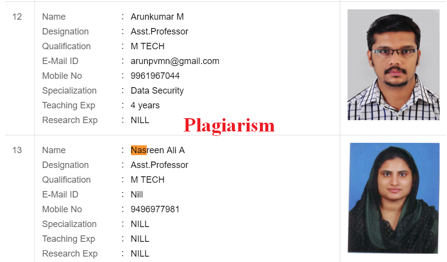 Plagiarists: Nasreen Ali A and Arunkumar M from Ilahia college of engineering
