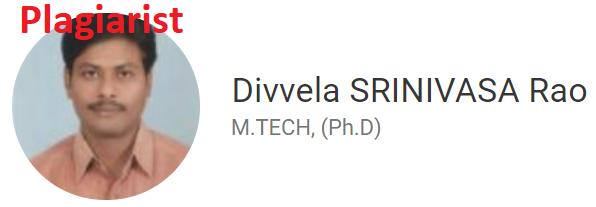 Divvela.Srinivasa Rao the plagiarist