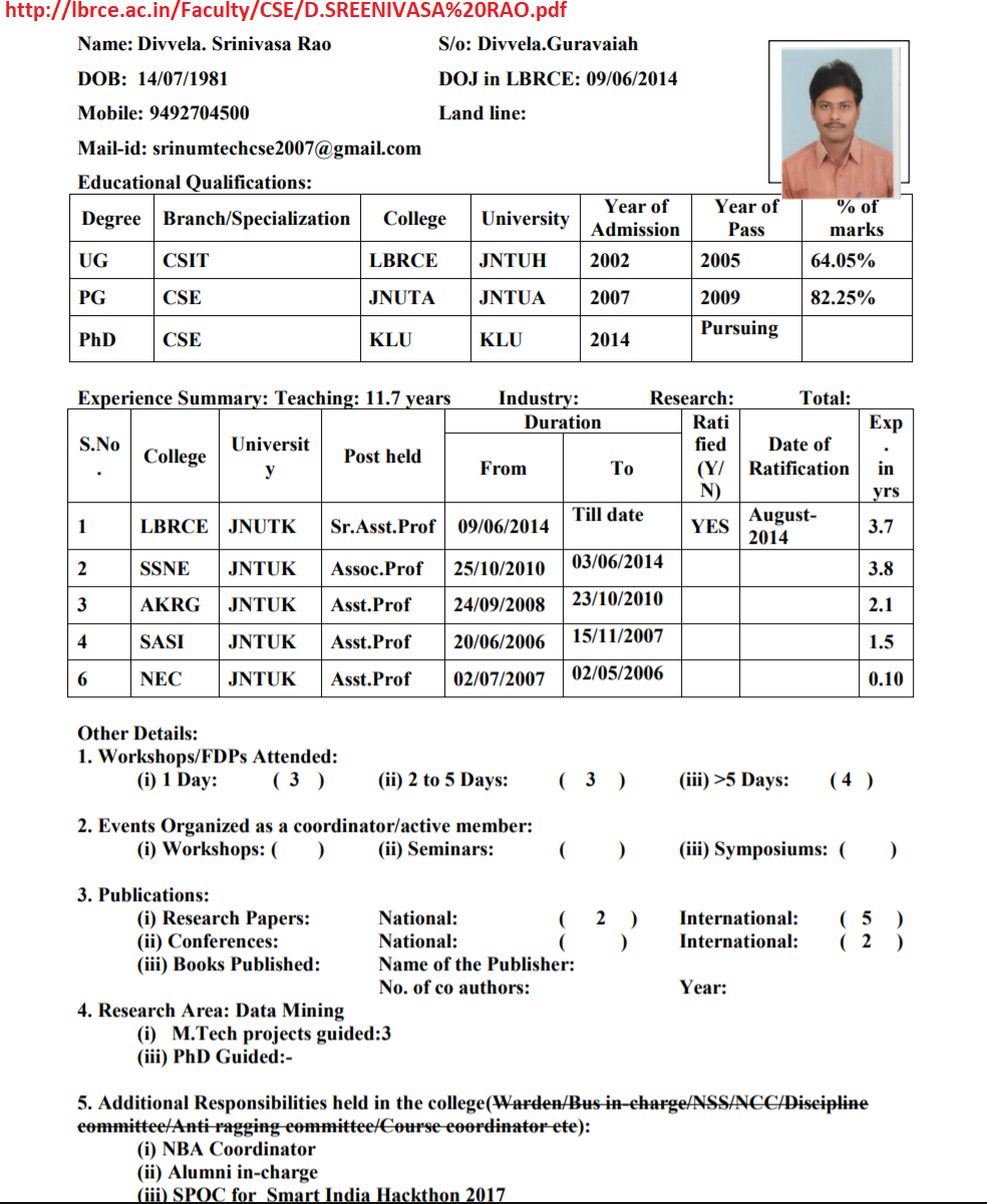 CV of Divvela SRINIVASA Rao