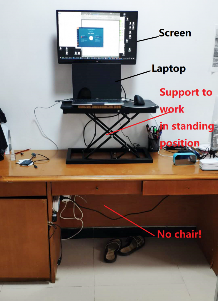 working in a standing position