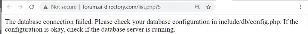 IONOS database problem